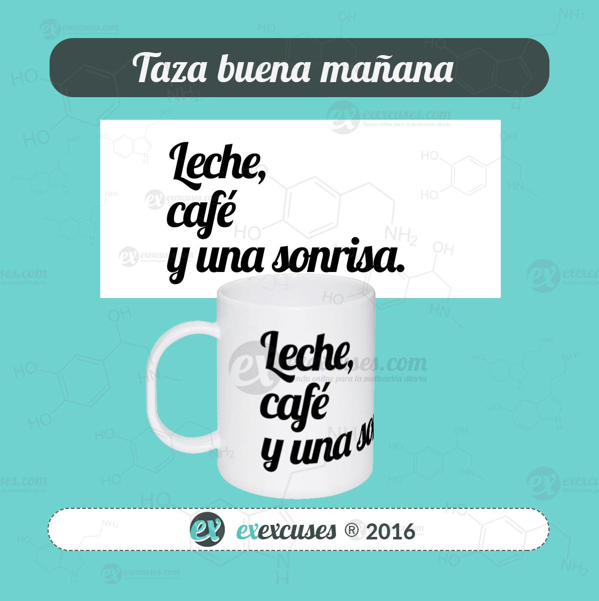 Taza mágica leche cafe sonrisa exexcuses®