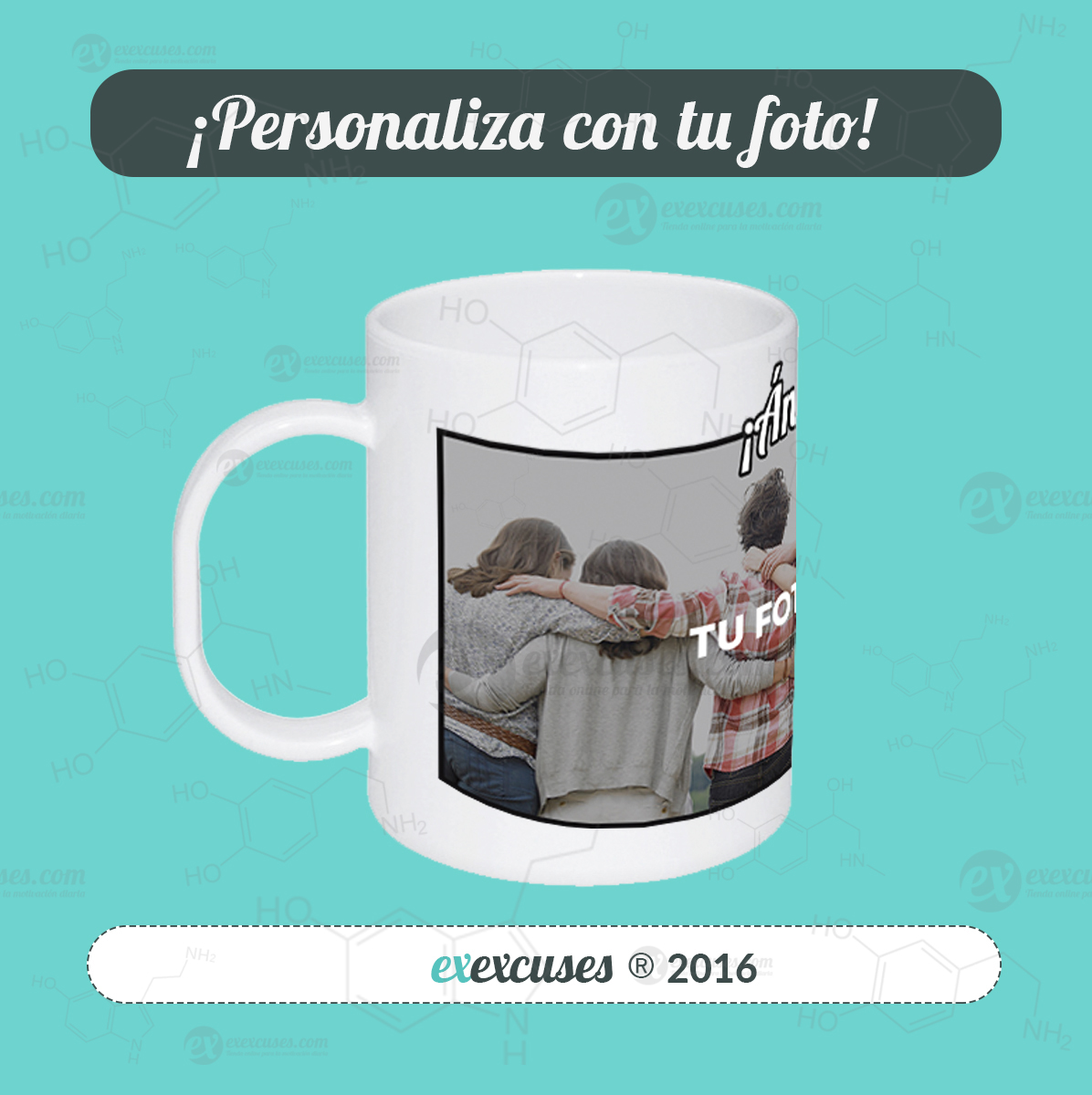 Taza blanca ánimo exexcuses®